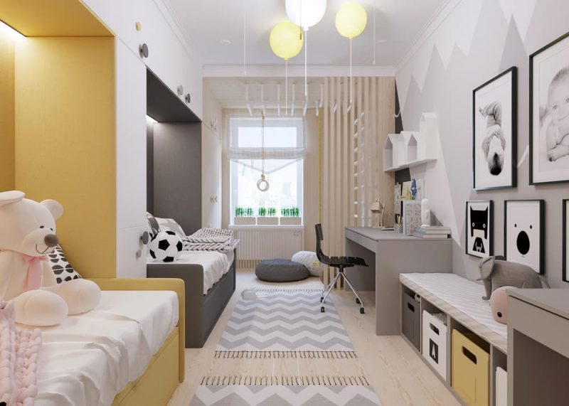Детская комната для двоих разнополых детей - дизайн 3 фото 2