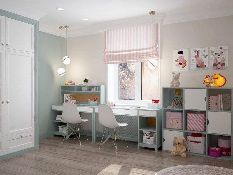 Детская комната для двух девочек - дизайн 1 фото 2