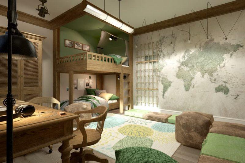 Детская комната под дерево для двух мальчиков - дизайн 3 фото 1