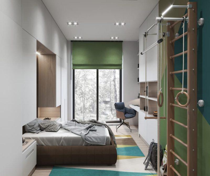 Дизайн узкой комнаты для подростка мальчика - фото 1