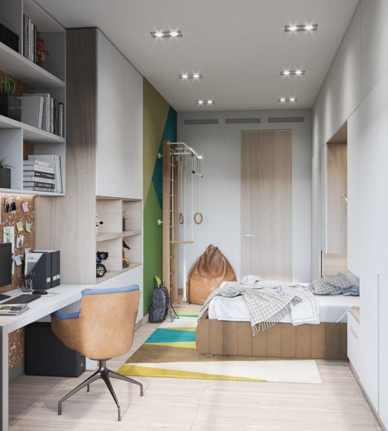 Дизайн узкой комнаты для подростка мальчика - фото 2