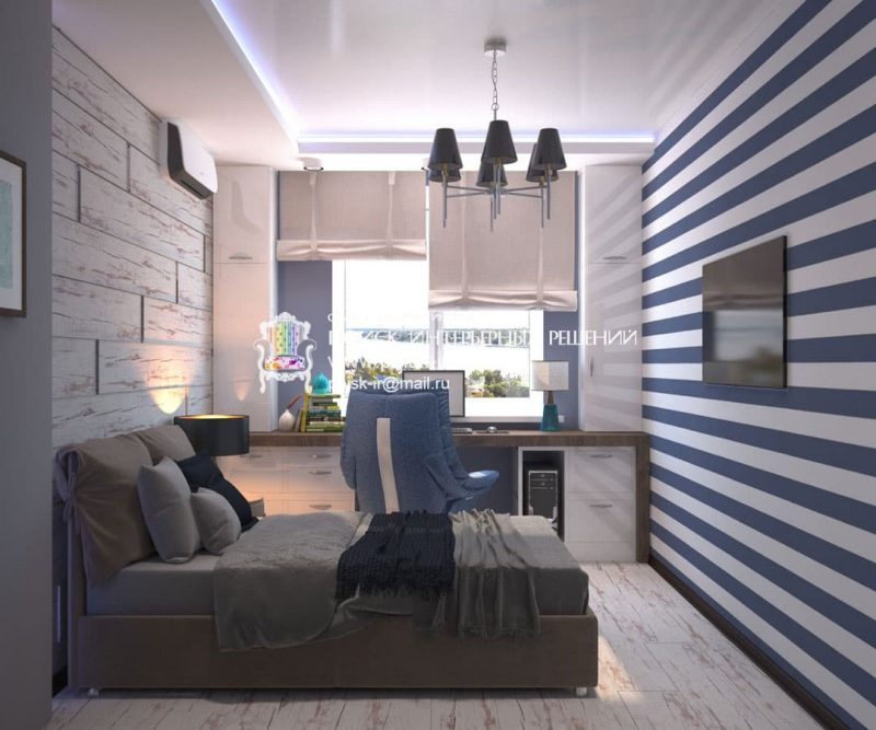 Современный дизайн комнаты для подростка мальчика - фото 1